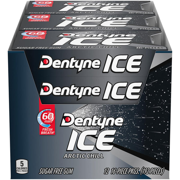 Dentyne Ice Arctic Chill Sugar Free Gum, 12 Packs of 16 Pieces (192 Total Pieces) (Min 2 per order)