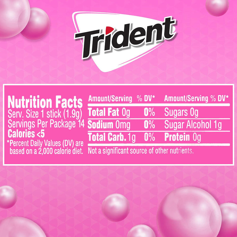 Trident Bubblegum Sugar Free Gum, Made with Xylitol, 15 Packs of 14 Pieces (210 Total Pieces)