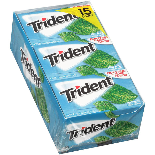 Trident Mint Bliss Sugar Free Gum, Made with Xylitol, 15 Packs of 14 Pieces (210 Pieces) (Min 2 per order)