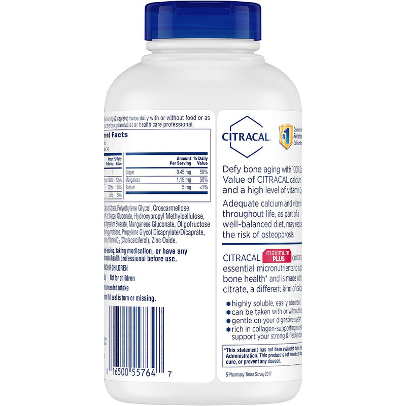 Citracal Calcium Citrate Caplets + D3 (280 ct.)