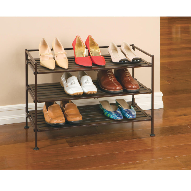 Seville Classics 3-Tier Resin Slat Shoe Rack