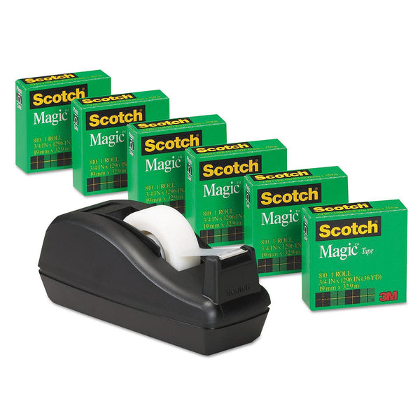 "Scotch - Magic Tape, 3/4"" x 1000"", 1"" Core, Black -  6/Pack"