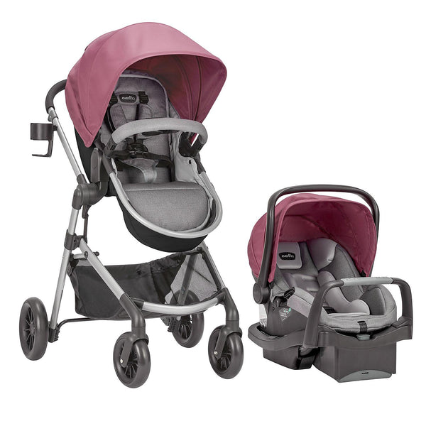 Evenflo Pivot Modular Travel System with SafeMax Car Seat (Dusty Rose)