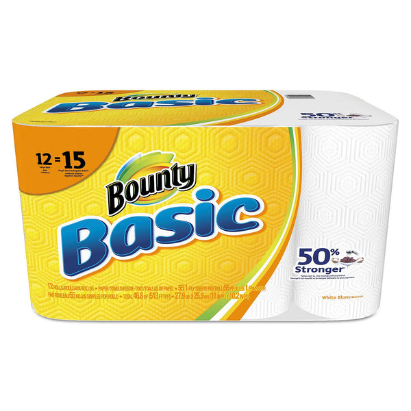 Bounty Basic Paper Towels, 1-Ply (55 sheets per roll, 12 rolls pack)