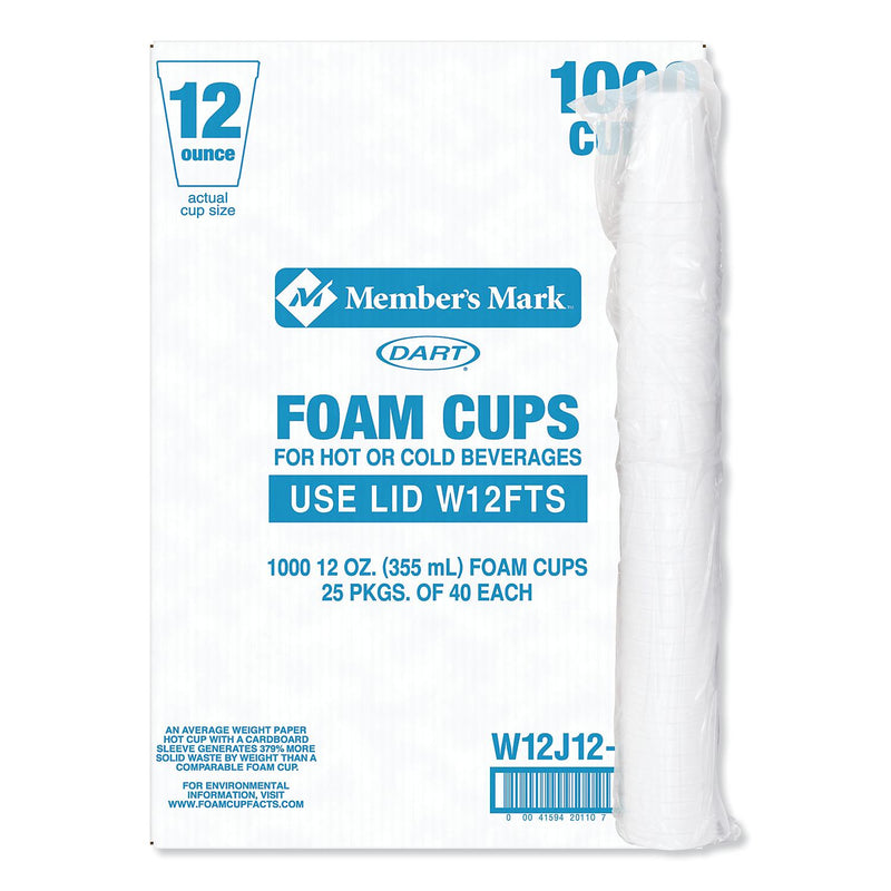 Member's Mark by Dart® Foam Cups - 1000/12 oz. Tall - Hot and Cold