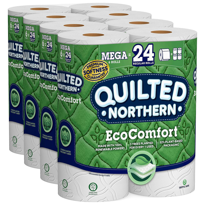 Quilted Northern EcoComfort Toilet Paper (2-Ply, 24 Mega Size Rolls, 308 Sheets/Roll)