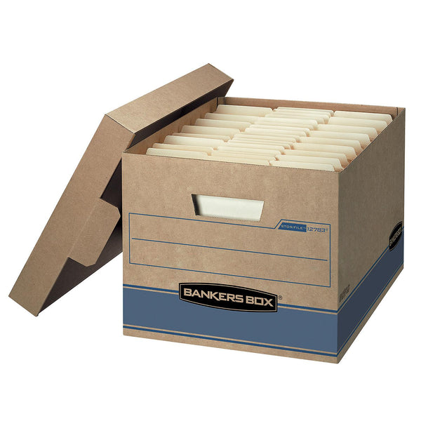"Bankers Box Heavy Duty Storage Boxes, 10"" x 12"" x 15"" (10 Pack), Kraft Brown"