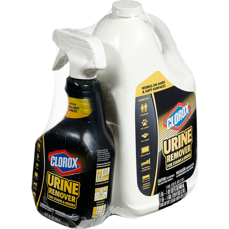 Clorox Urine Remover for Stains and Odors, 32 oz. Spray Bottle and 128 oz. Refill