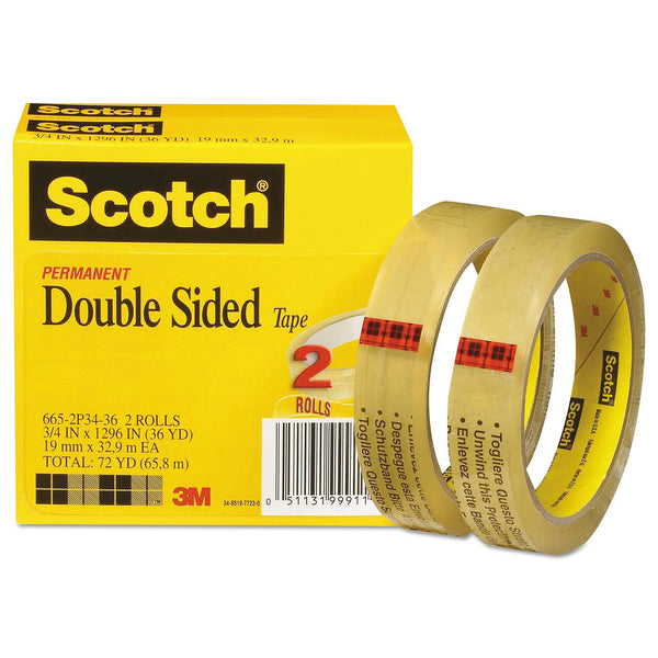 "Scotch - Double-Sided Tape, 3/4"" x 1296"", 3"" Core, Transparent -  2/Pack"