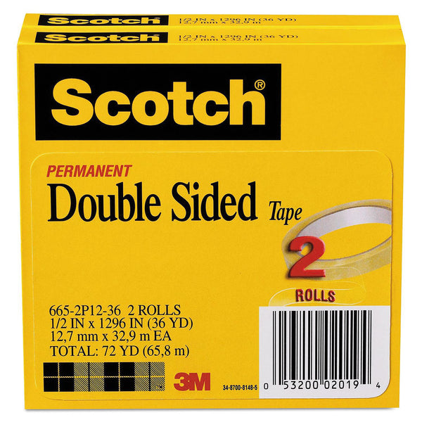 "Scotch - 665 Double-Sided Tape, 1/2"" x 1296"", 3"" Core, Transparent -  2/Pack"