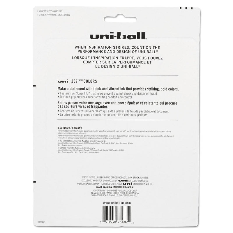 uni-ball Signo Gel 207 Roller Ball Retractable Gel Pen, Assorted Ink, ( Medium, 8 per Set)