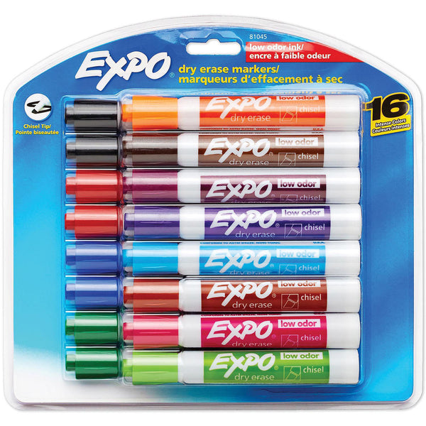 EXPO Low Odor Dry Erase Markers, Assorted Colors (Chisel Tip, 16 ct.)