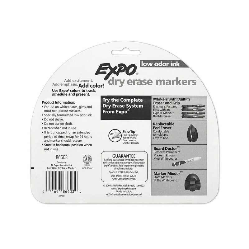 EXPO Low Odor Dry Erase Markers, Assorted Colors (Fine Point, 12 ct.)