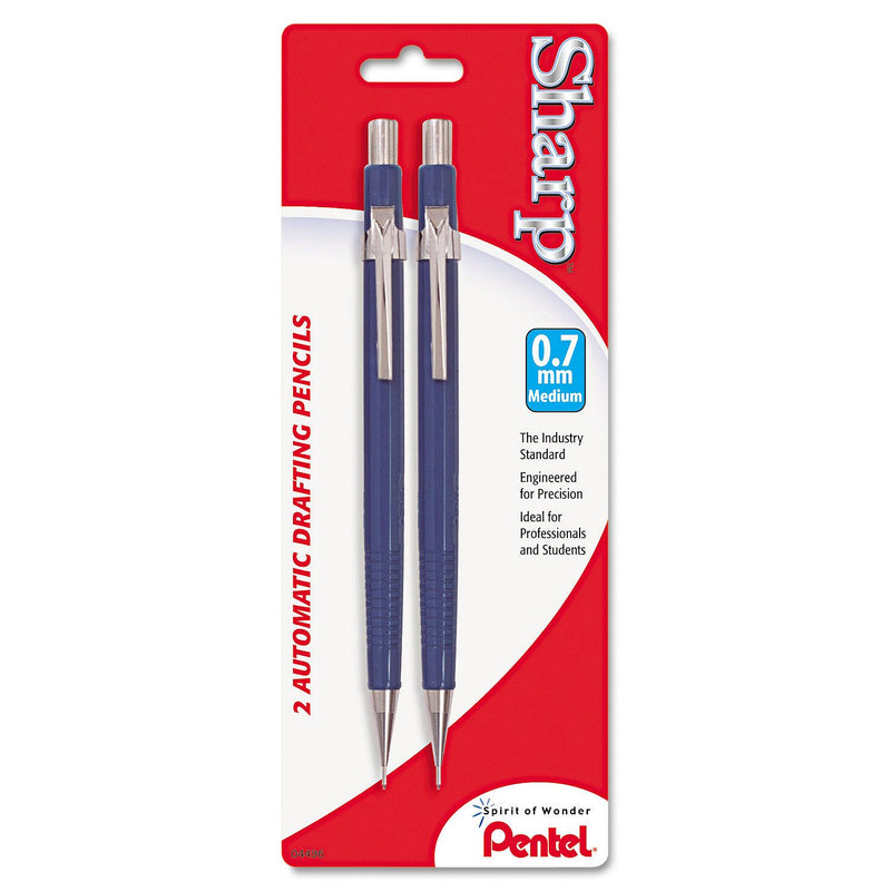 Pentel - Sharp Mechanical Drafting Pencil, 0.7 mm, Blue Barrel -  2/Pk (Min 2 per order)