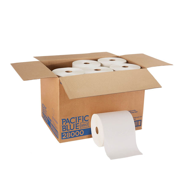 Pacific Blue Select™ 2-Ply Paper Towel Roll, White, 350 Feet/Roll, 12 Rolls/Case (28000)