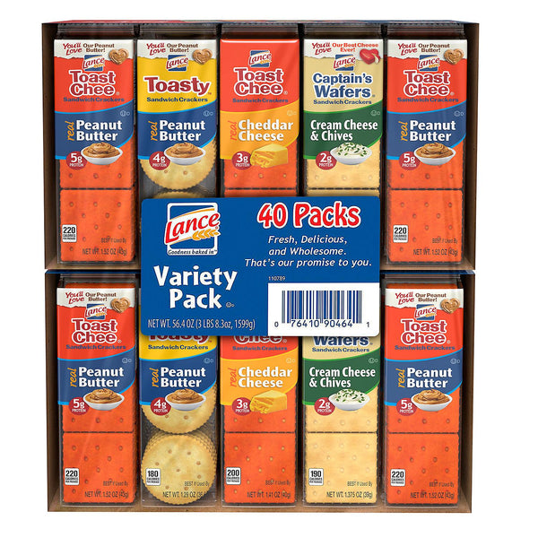 Lance Sandwich Crackers, Variety Pack (1.41 oz., 40 ct.) (Min 2 per order)