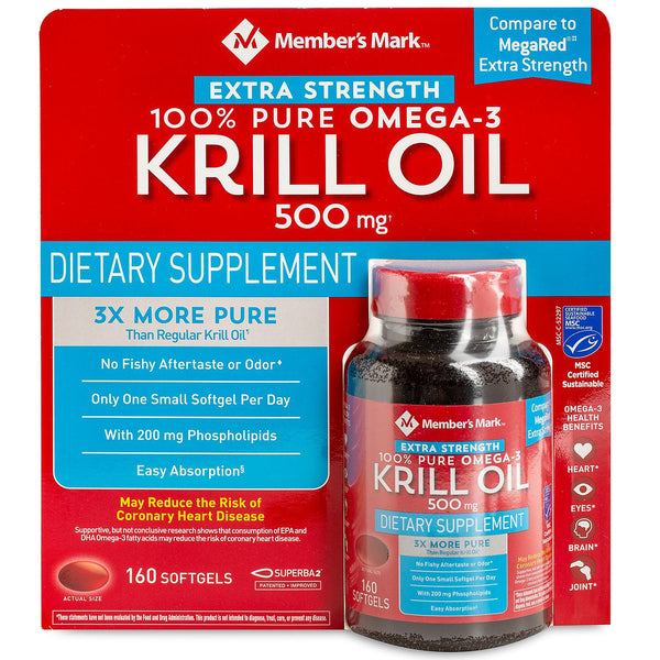Member's Mark Extra-Strength 100% Pure Omega-3 Krill Oil, 500mg (160 ct.)