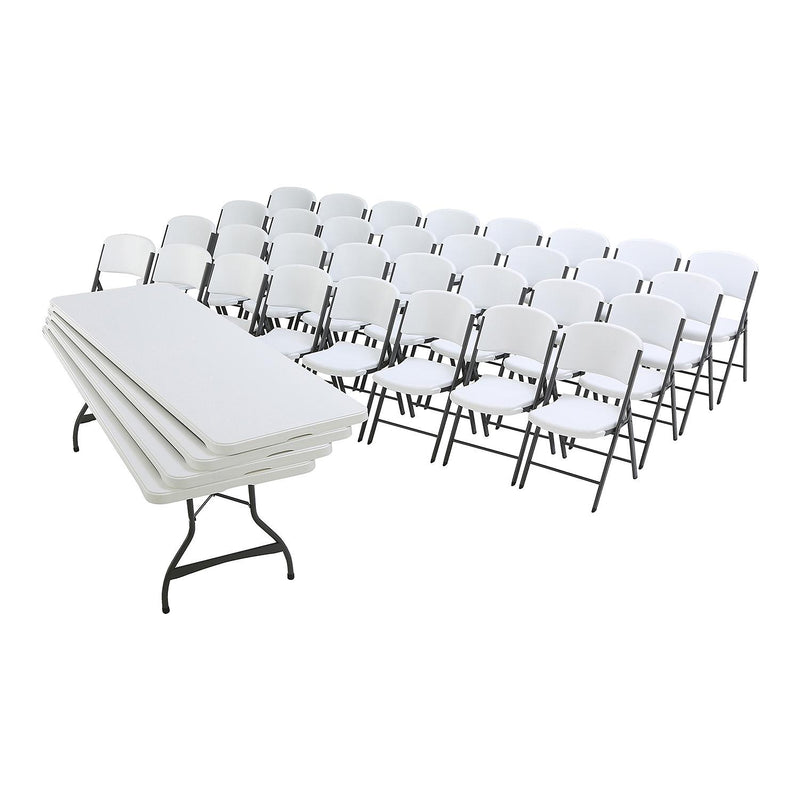Lifetime Combo - (4) 8' Commercial Grade Nesting Folding Tables and (32) Folding Chairs, Color: White Granite