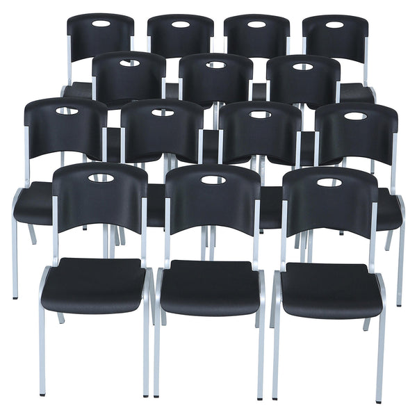 Lifetime Contoured Stacking Chair, Black ( 14 Pack )