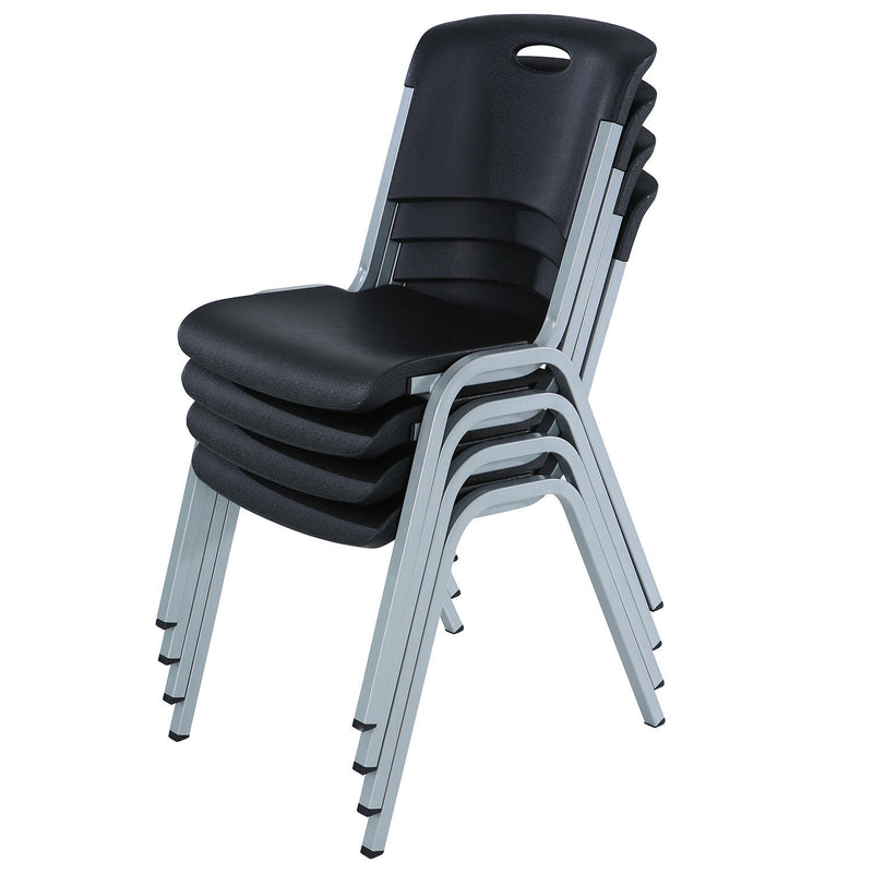 Lifetime Contoured Stacking Chair, Black ( 4 Pack )
