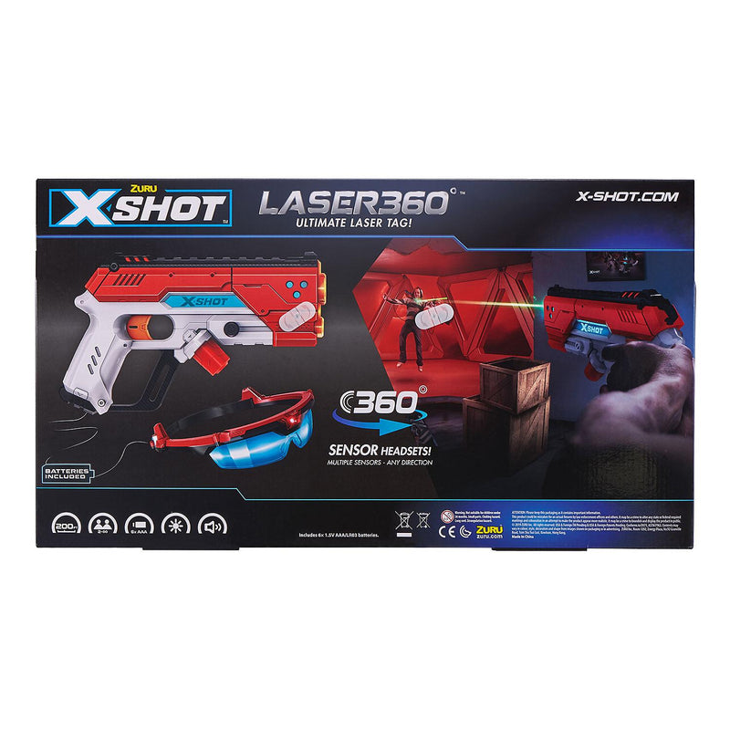 X-Shot Laser360° Double Laser Blaster Pack-Kids Toys ( Includes 2 Blasters, 2 Sets of Goggles)