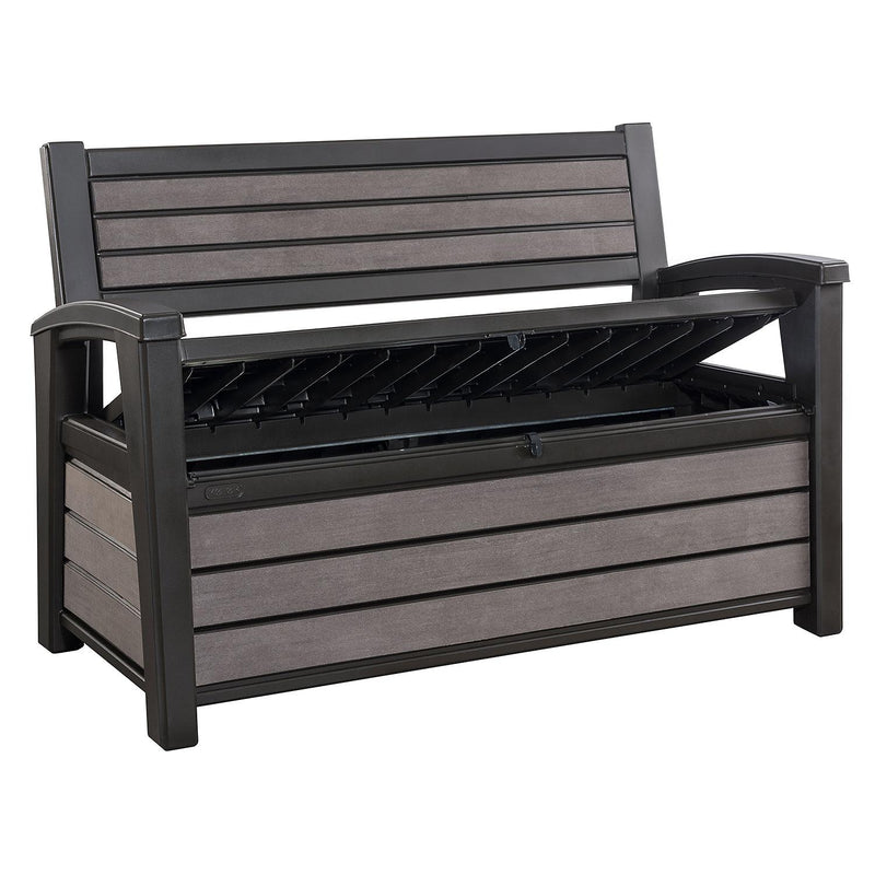 Keter Hudson Plastic Storage Bench 60 Gallon Deck Box (color: Brown)