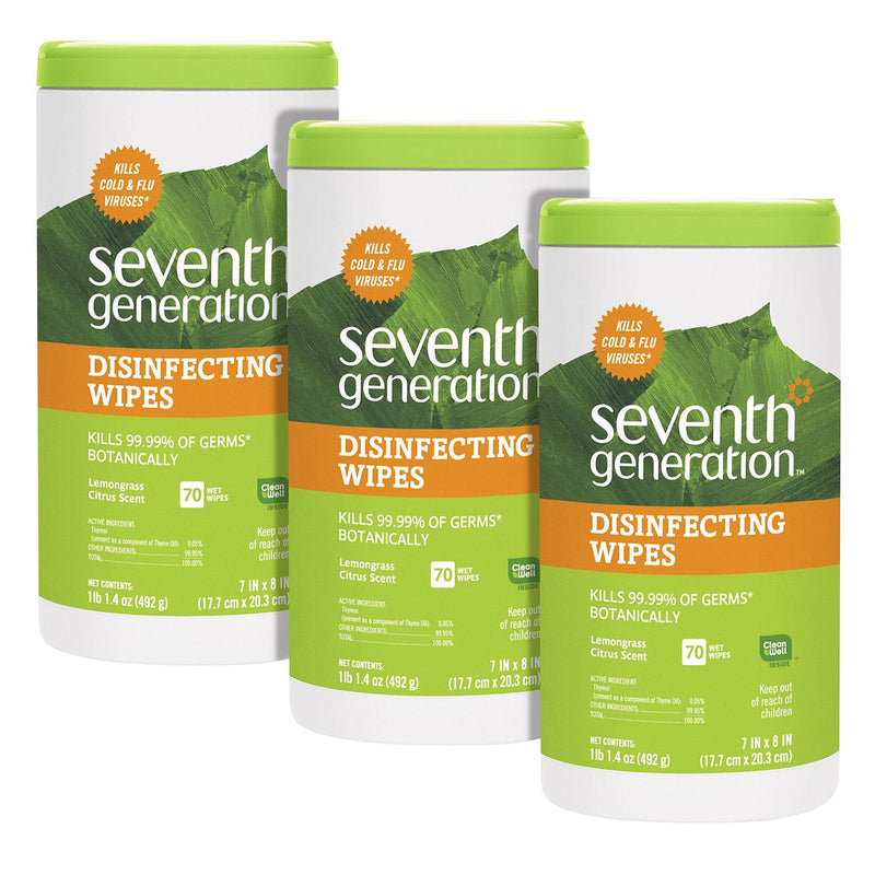 Seventh Generation Botanical Disinfecting Wipes (8 x 7) 3pk - 210 Total Wipes - 70 Wipes per Container