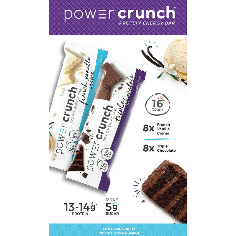 Powercrunch Protein Bar French Vanilla Crème and Triple Chocolate (16 ct.)