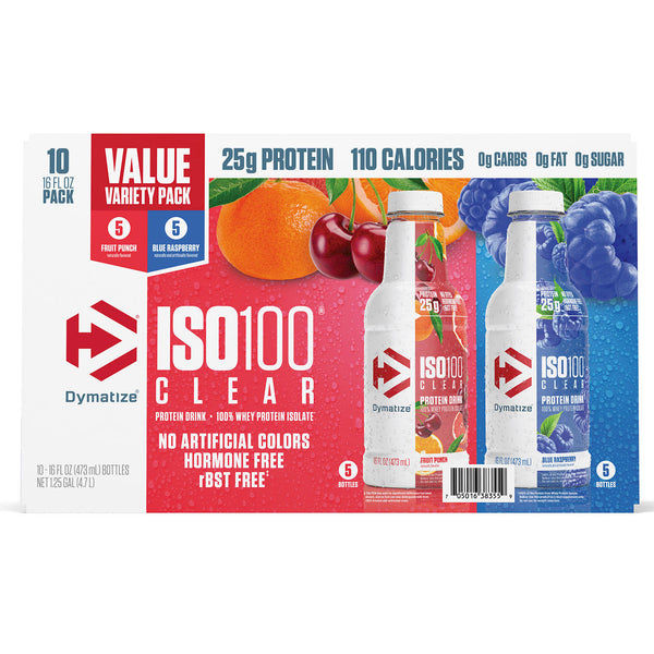 Dymatize ISO100 Clear 100% Whey Protein Isolate, 25g Protein, Fruit Punch and Blue Raspberry (16 fl. oz., 10 pk.)