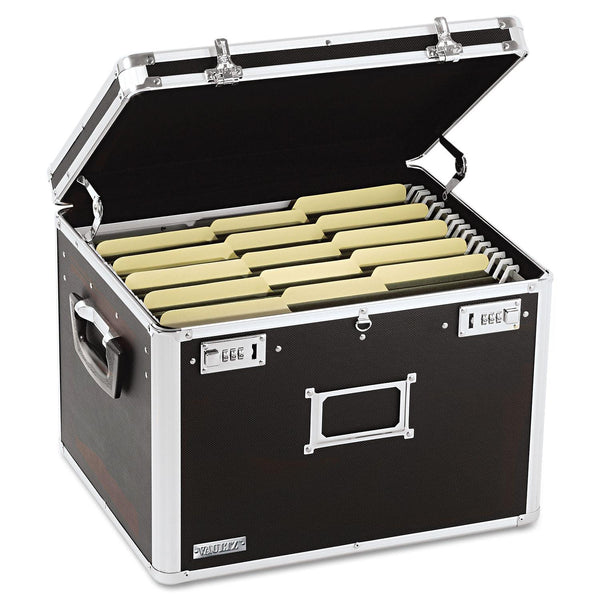 Vaultz Locking File Chest Storage Box, Black (17-1/2 x 14 x 12-1/2, Letter/Legal)