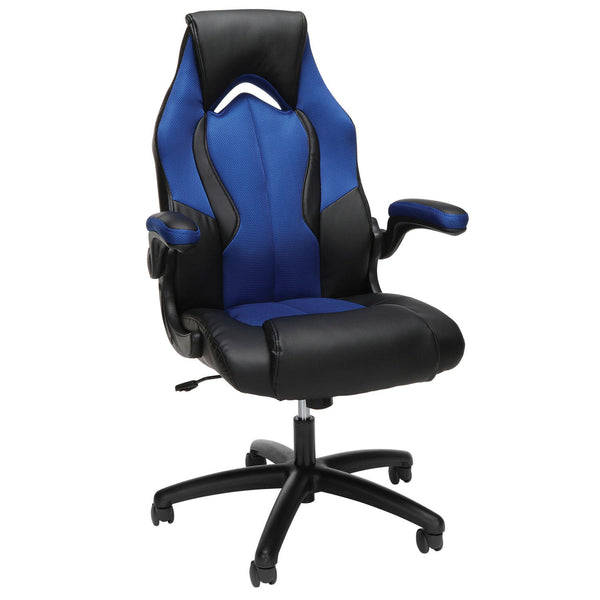Essentials by OFM ESS-3086 High-Back Racing Style Leather Gaming Chair, ( Color : Blue )