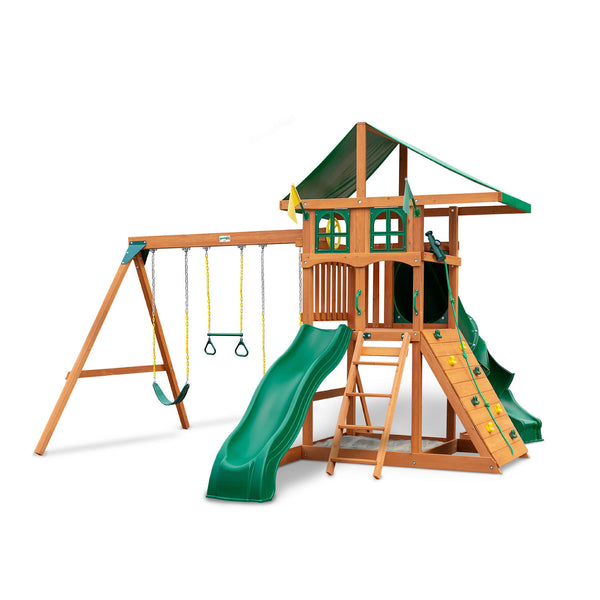 Gorilla Playsets Avalon Treehouse Wood Swing Set with Vinyl Canopy and Twister Tube Slide