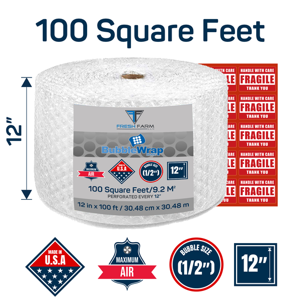 Perforated Every 12 4  Rolls X 175 = 700 feet SC PACK 3//16 700 ft x 12Small Bubble Cushioning Wrap