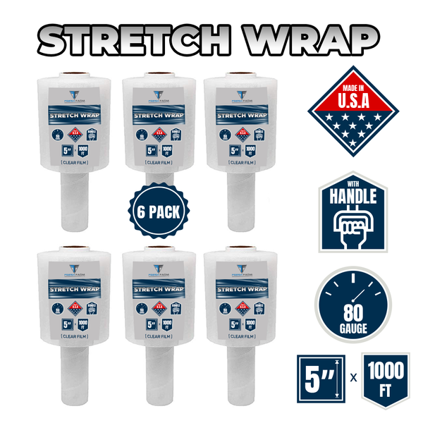 "6 Pack -Stretch Wrap 5"" x 1000' Roll - 80 Gauge Thick Industrial Strength - Clear Film (6 Pack)"