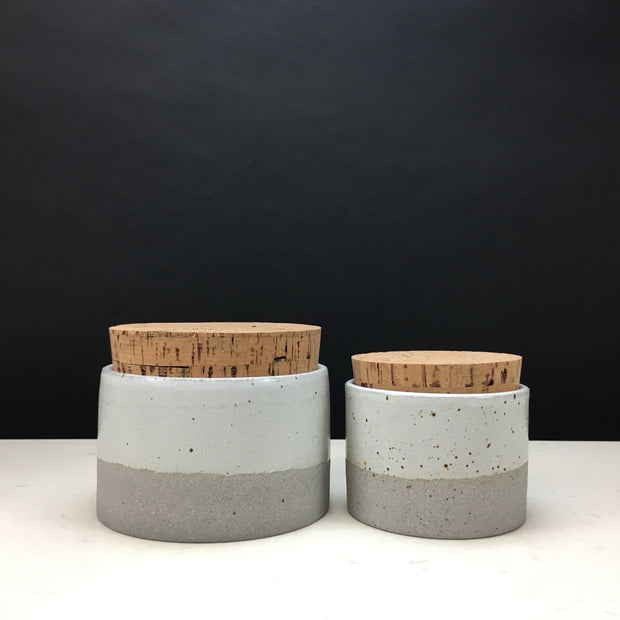 "Canister w/ Classic Cork in Greystone/Snow White | Pictured here are 2 sizes: 4.5""x 3"" & 3.5"" x 2.5"""
