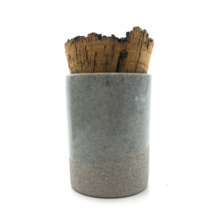 CAN2-G-C-BT | Canister 2 oz w/ Bark Top | Greystone/Clear Sky | Humble Ceramics |