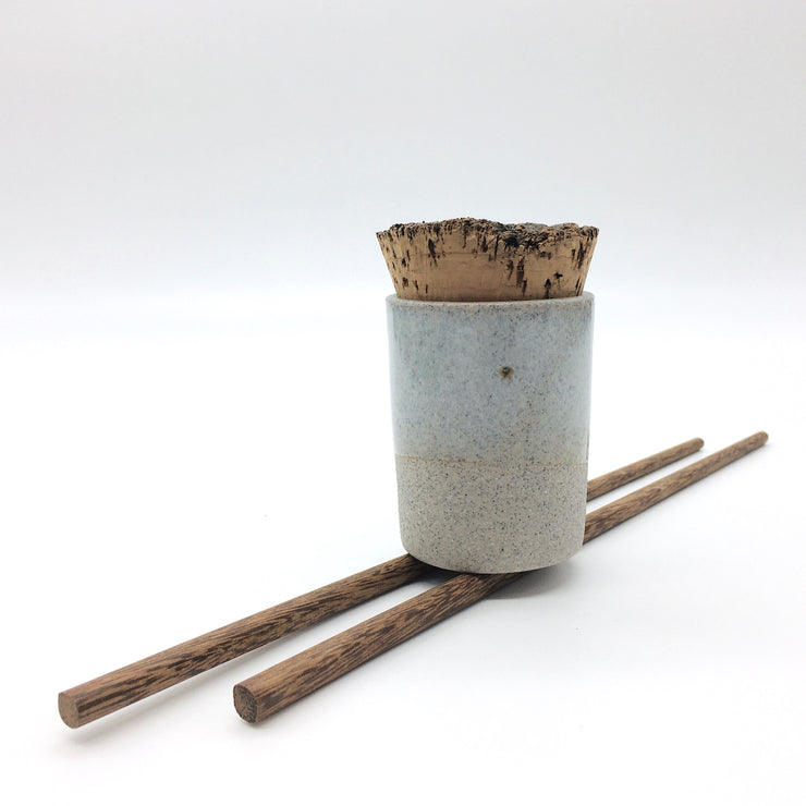 Canister w/ Bark Top | 2 oz | Greystone/Korean Blue Celadon