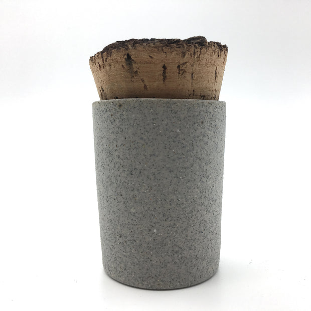 CAN2-G-RAW-BT | Canister 2 oz w/ Bark Top | Greystone | Humble Ceramics |