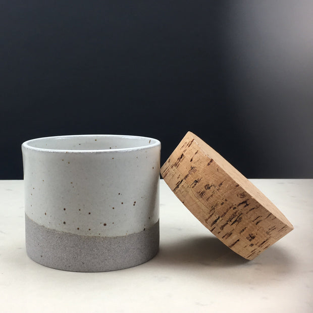 CAN353-G-S-CC | Canister | Greystone/Snow White | Humble Ceramics |