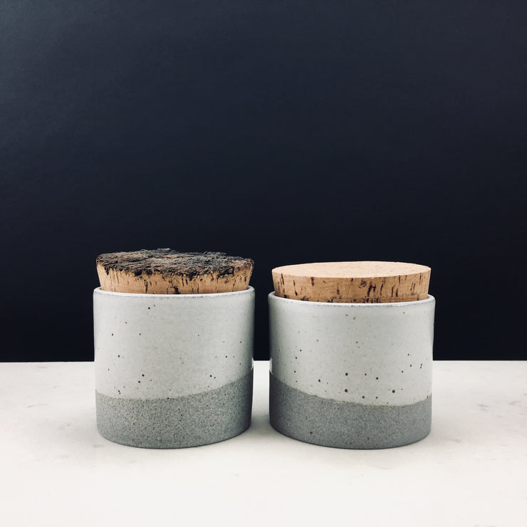 CAN353-G-S-BT | Canister | Greystone/Snow White | Humble Ceramics |
