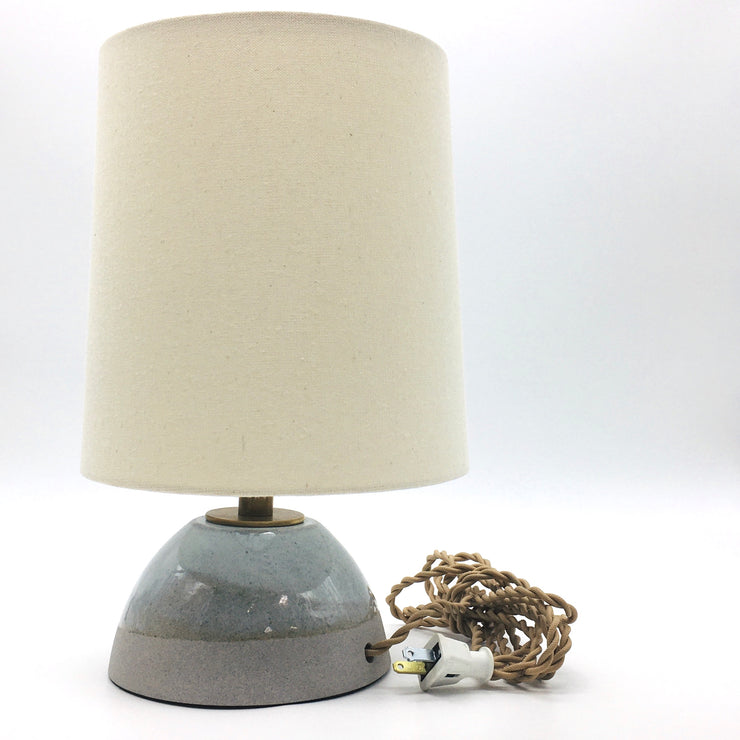 Enoki Lamp Base | Greystone/Korean Blue Celadon | Medium Brass