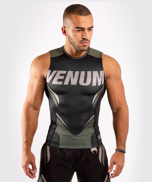 Venum ONE FC Impact Rashguard - sleeveless - Black/Khaki - picture 1