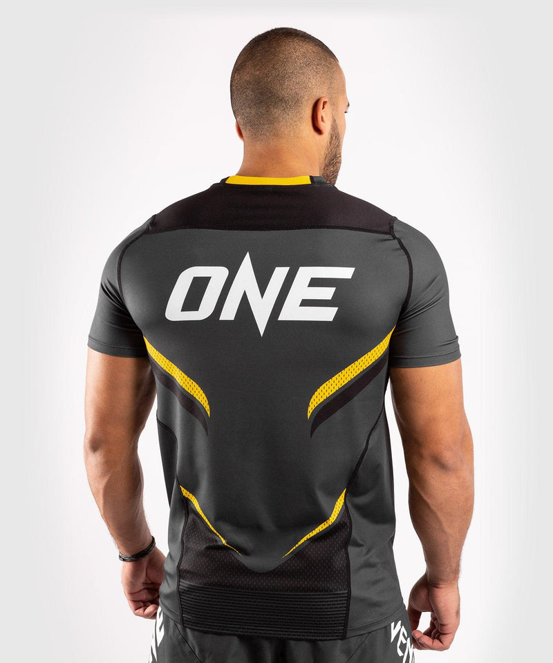 Venum ONE FC Impact Dry Tech T-Shirt - Grey/Yellow - picture 2