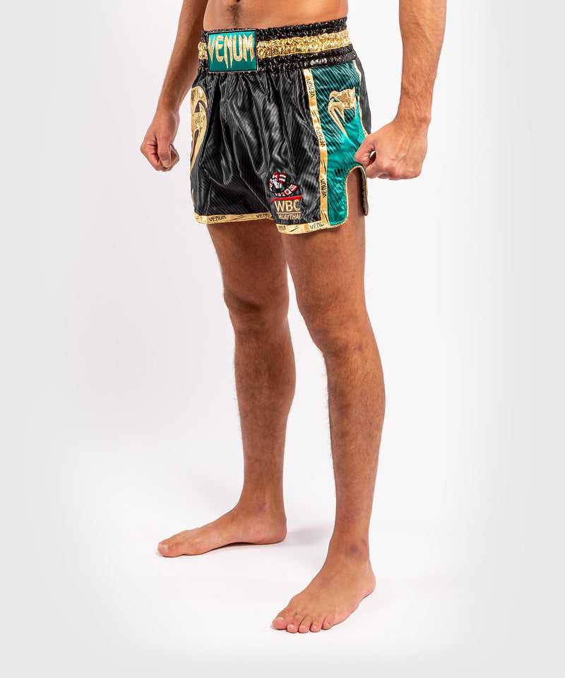 Venum WBC Muay Thai Shorts - Black/Green - Picture 3