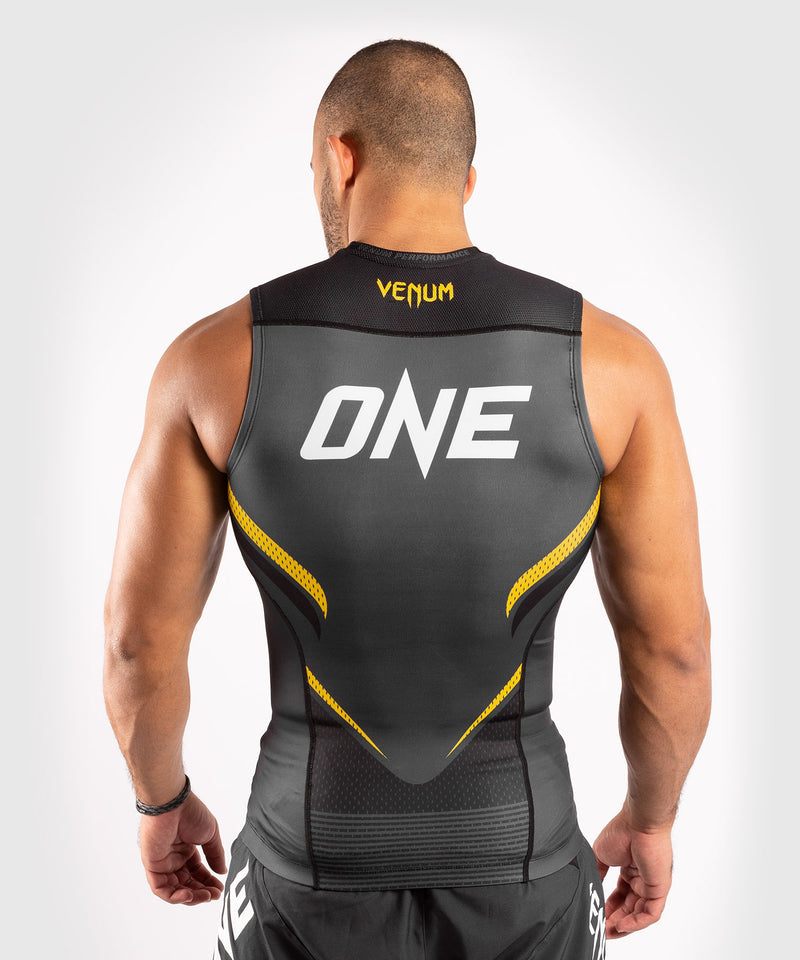 Venum ONE FC Impact Rashguard - sleeveless - Grey/Yellow - picture 2