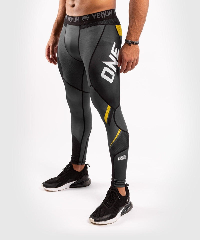 Venum ONE FC Impact Compresssion Tights - Grey/Yellow - picture 1