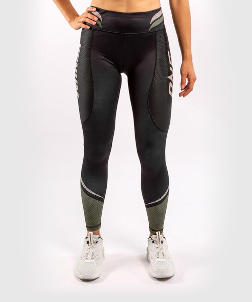 Venum ONE FC Impact Leggings - for women - Black/Khaki - picture 1