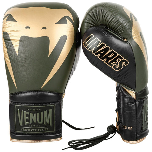 Venum Giant 2.0 Pro Boxing Gloves Linares Edition - With Laces – Khaki/Black/Gold picture 2