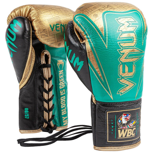 Venum Hammer Pro Boxing Gloves WBC Limited Edition - With Laces - Green Metallic/Gold picture 1