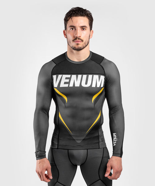 Venum ONE FC Impact Rashguard - long sleeves - Grey/Yellow - piecture 1